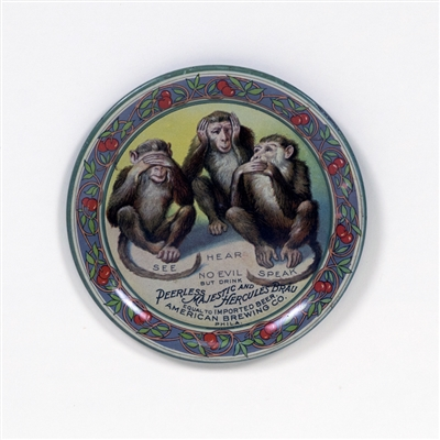 American Brewing See Hear Speak No Evil Monkeys Tip Tray
