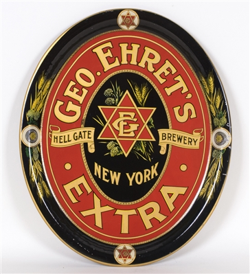 Geo. Ehrets Hell Gate Brewery Extra Oval Beer Tray