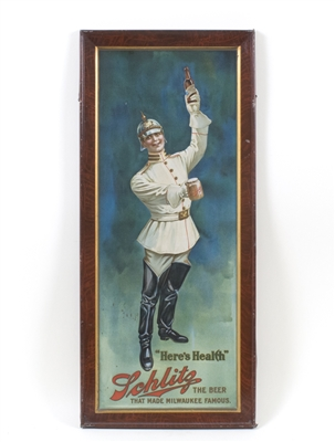 Schlitz Beer Marine Officer Tin Sign
