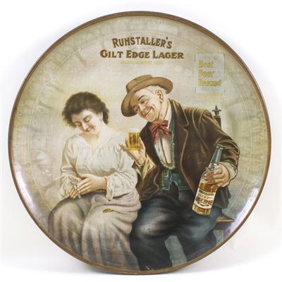 Ruhstallers Gilt Edge Lager Tin Litho Charger