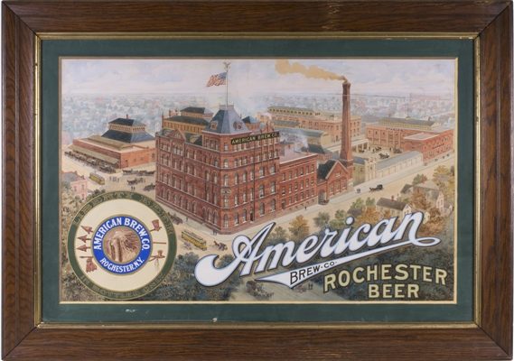 American Brewing Unique Hand-Painted Factory Scene Sign