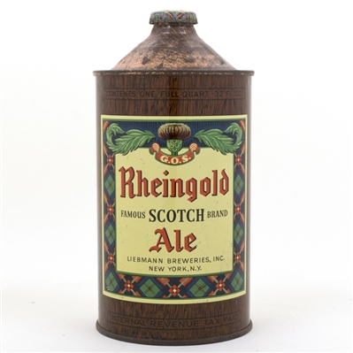 Rheingold Scotch Ale Quart Cone Top Can