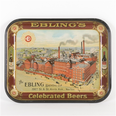 Eblings Celebrated Beer Factory Scene Tray