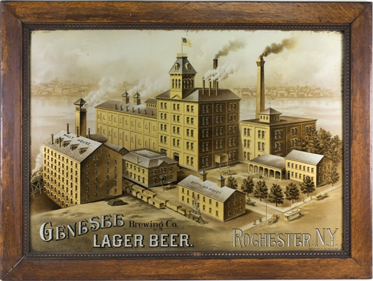 Genesee Brewing Lager Beer Factory Scene Sign