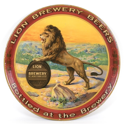 Lion Brewery Lion Standing On Barrel Advertising Tray