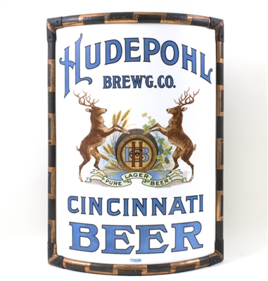 Hudepohl Brewing Cincinnati Beer Vitrolite Corner Sign