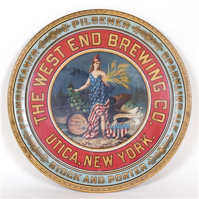 West End Brewing Patriotic Flag Dress Lady Tray