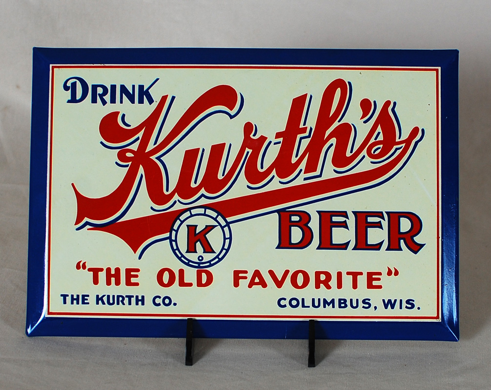 Kurth's Beer TOC Tin Over Cardboard Sign