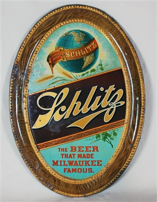 Schlitz Self-Framed Tin Pre-prohibition Sign