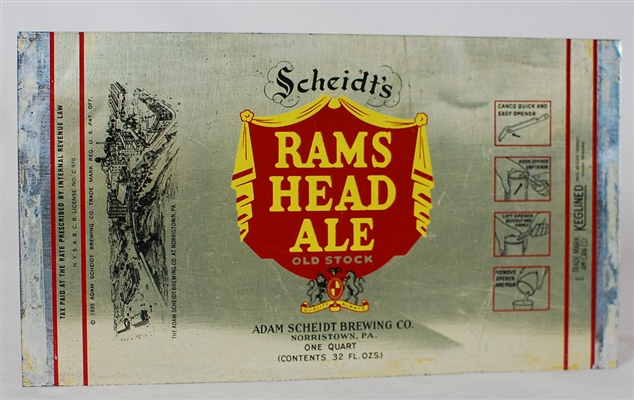 Rams Head Ale Instructional Quart Flat 217-16