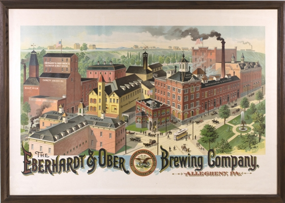 Eberhardt & Ober Brewing Factory Scene Chromolithograph