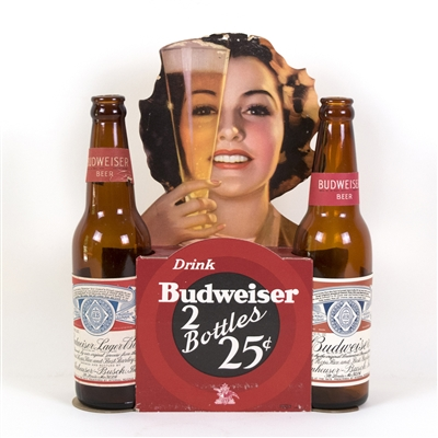 "Budweiser Beer ""2 Bottles 25¢"" Die-Cut Point of Purchase Display"