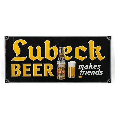 Lubeck Makes Friends Bottle Tin Sign