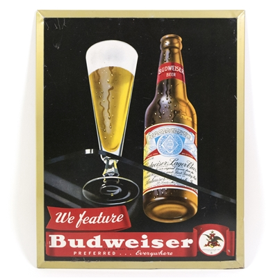 Budweiser Beer Tin-Over-Cardboard Sign
