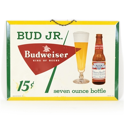 "Budweiser ""Bud Jr."" Tin-Over-Cardboard Sign"