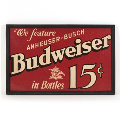 Budweiser Beer Framed Cardboard Sign