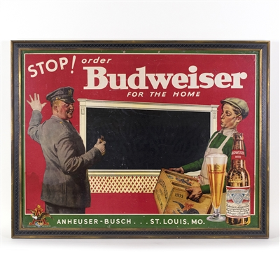 Budweiser Beer For the Home Lithographed Sign