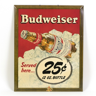 Budweiser Beer 25¢ A Bottle TOC Sign