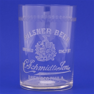 C. Schmidt & Sons Pre-Prohibition Etched Drinking Glass