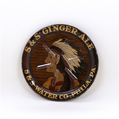 S&S Ginger Ale Native American Indian Tip Tray