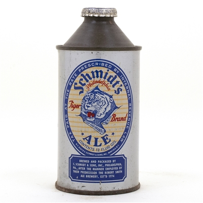 Schmidts Tiger Brand Ale Cone Top Beer Can