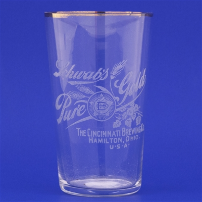 Schwabs Pure Gold Pre-Prohibition Etched Drinking Glass