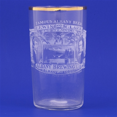Albany Brewing Co. Lewis and Clark Cent. Pre-Prohibition Etched Glass