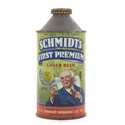 Schmidt First Premium High Profile Cone Top Beer Can