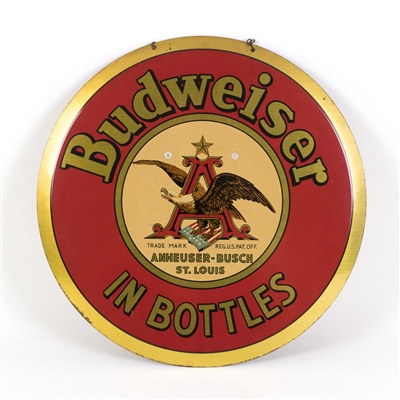 Budweiser Beer In Bottles Round Tin Sign