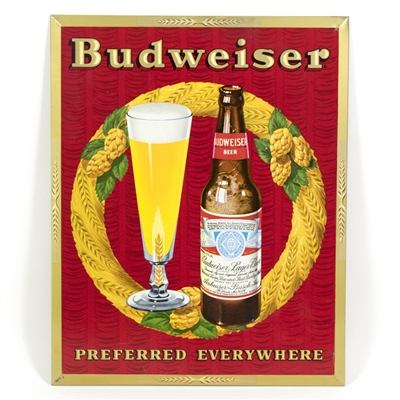 Budweiser Wreath Motif Tin-Over-Cardboard Sign