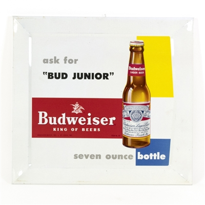 "Budweiser ""Bud Junior"" Tin-Over-Cardboard Sign"